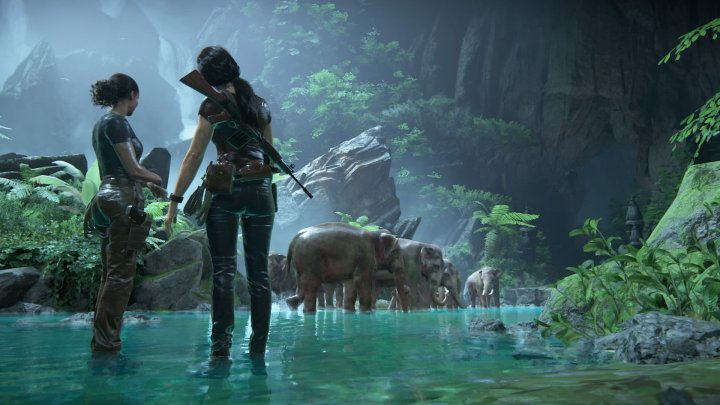 uncharted characters look on at elephants