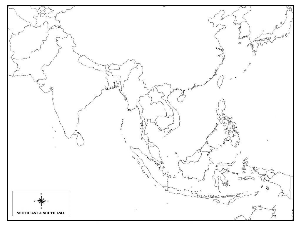 Free Detailed Printable Blank Map of Asia Template in PDF
