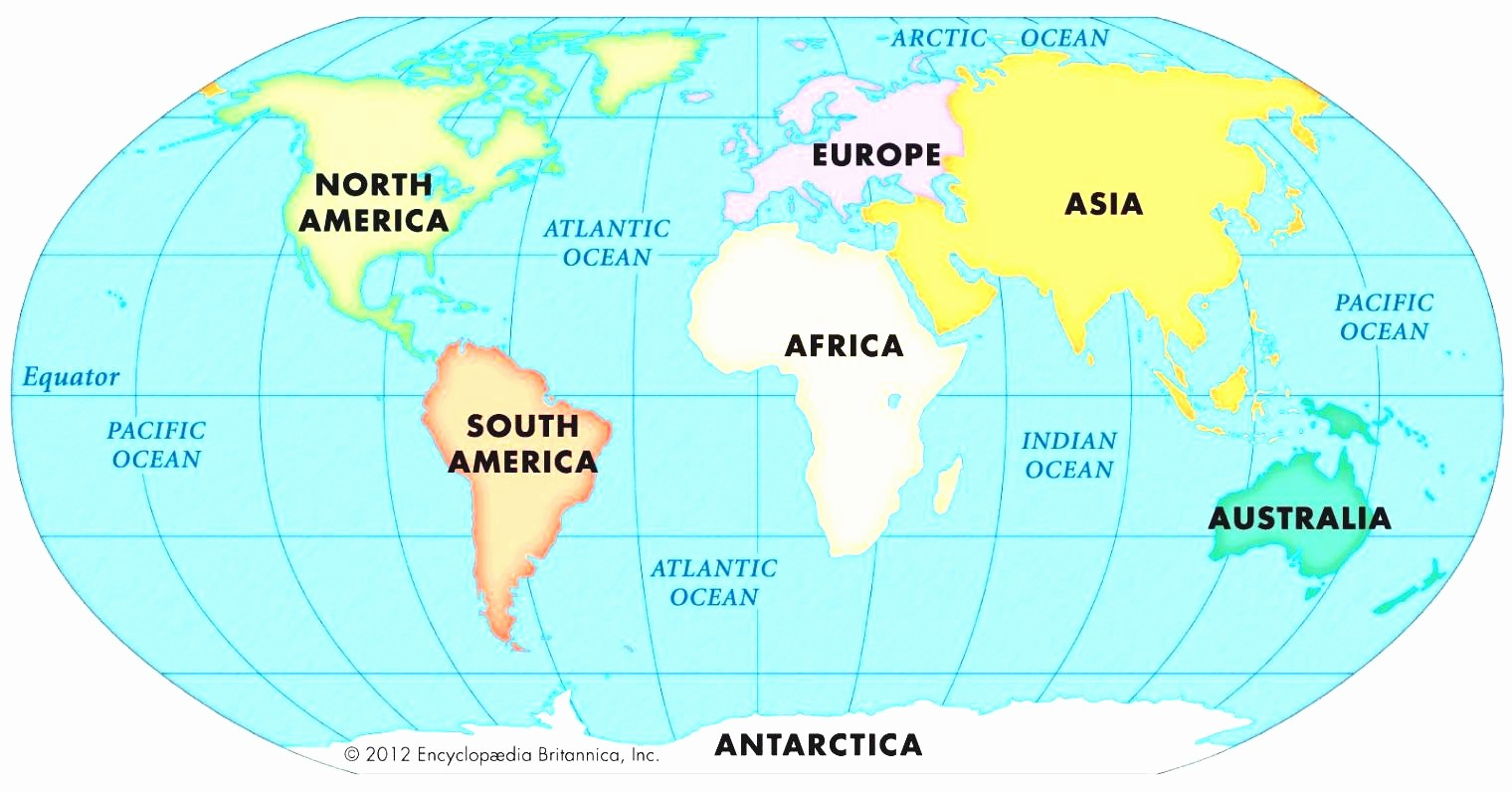 Free Large World Map With Continents Continents Of The World