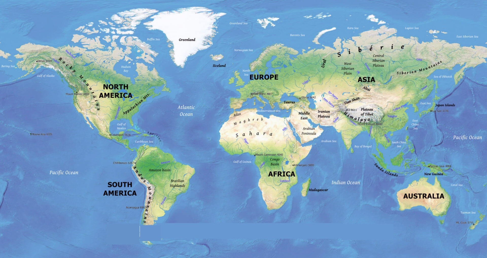 Free Large Printable World Physical Map Hd In