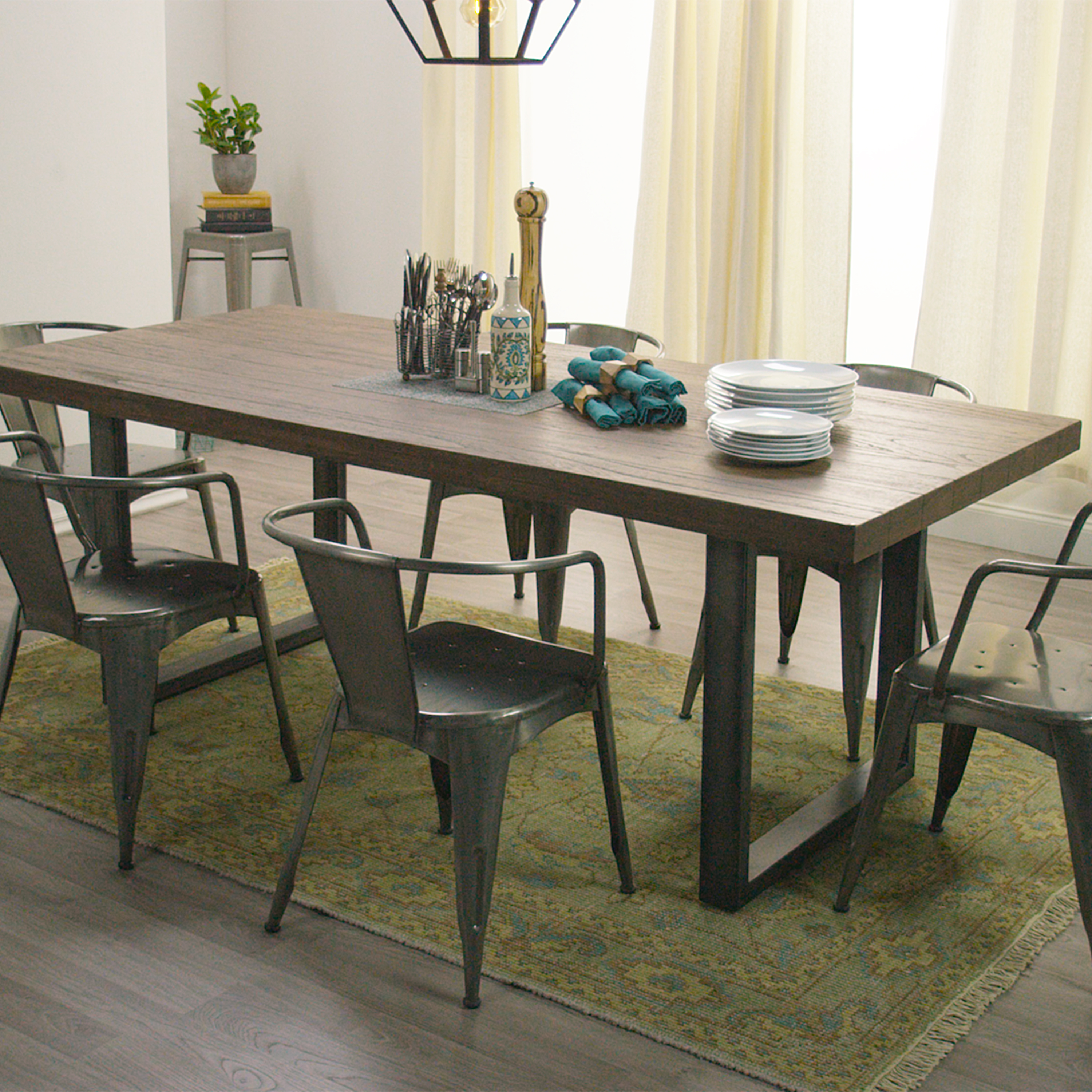 Wood And Metal Dining Chairs Wood And Metal Edgar Dining Table World Market