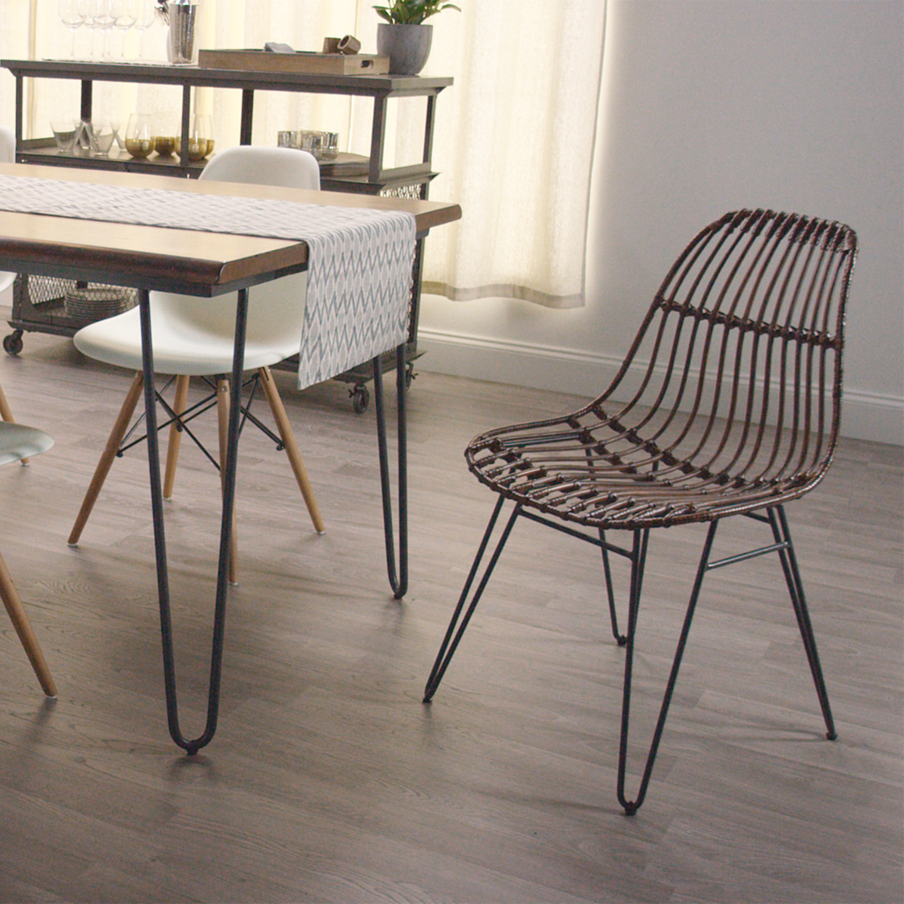 Hairpin Leg Chair Rattan Flynn Hairpin Dining Chairs With Rustic Legs Set Of