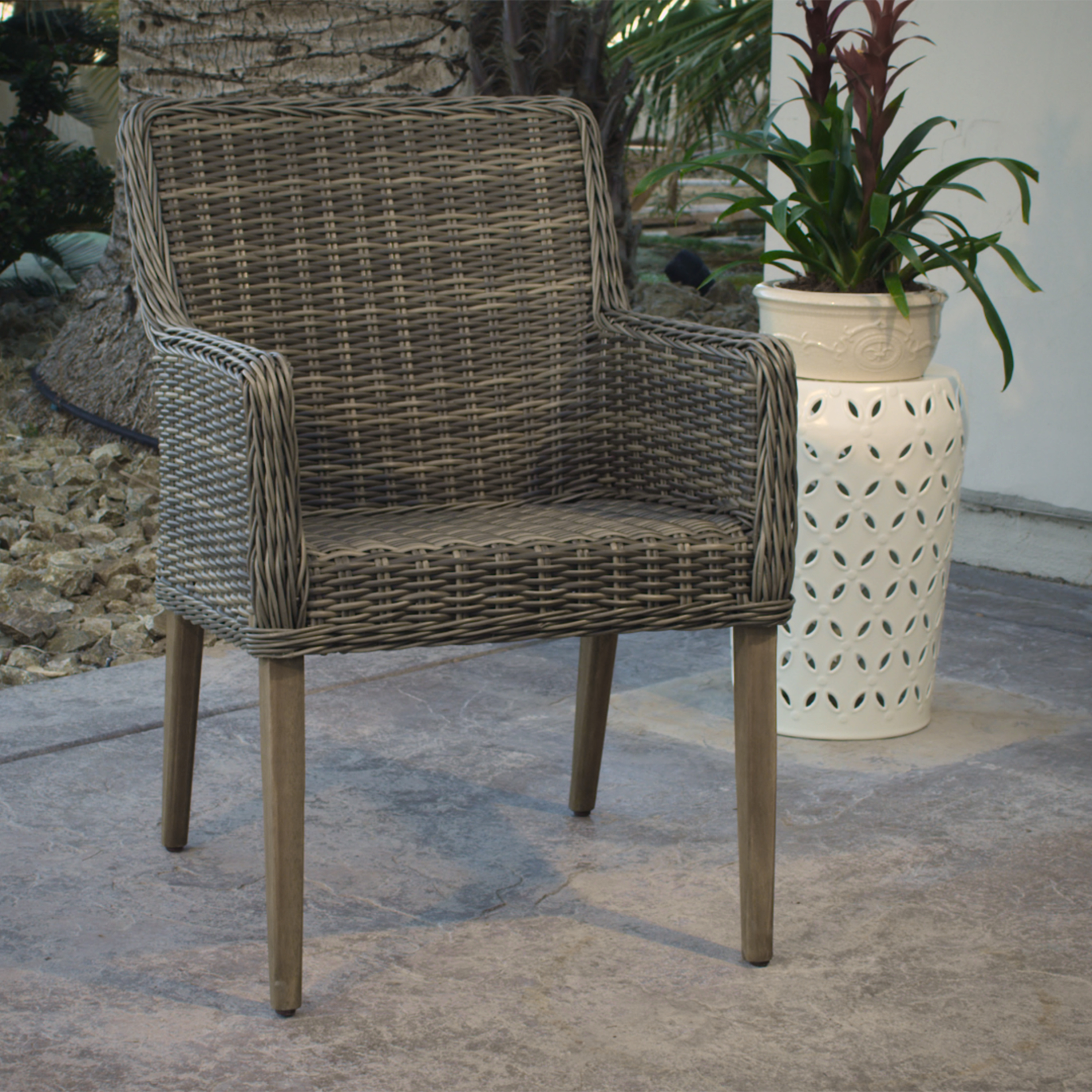 All Weather Wicker Chairs Gray All Weather Wicker Borgia Dining Chair World Market