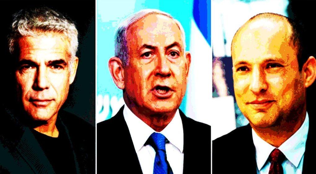 Yair Lapid (L), Benjamin Netanyahu (C) and Naftali Bennett (R