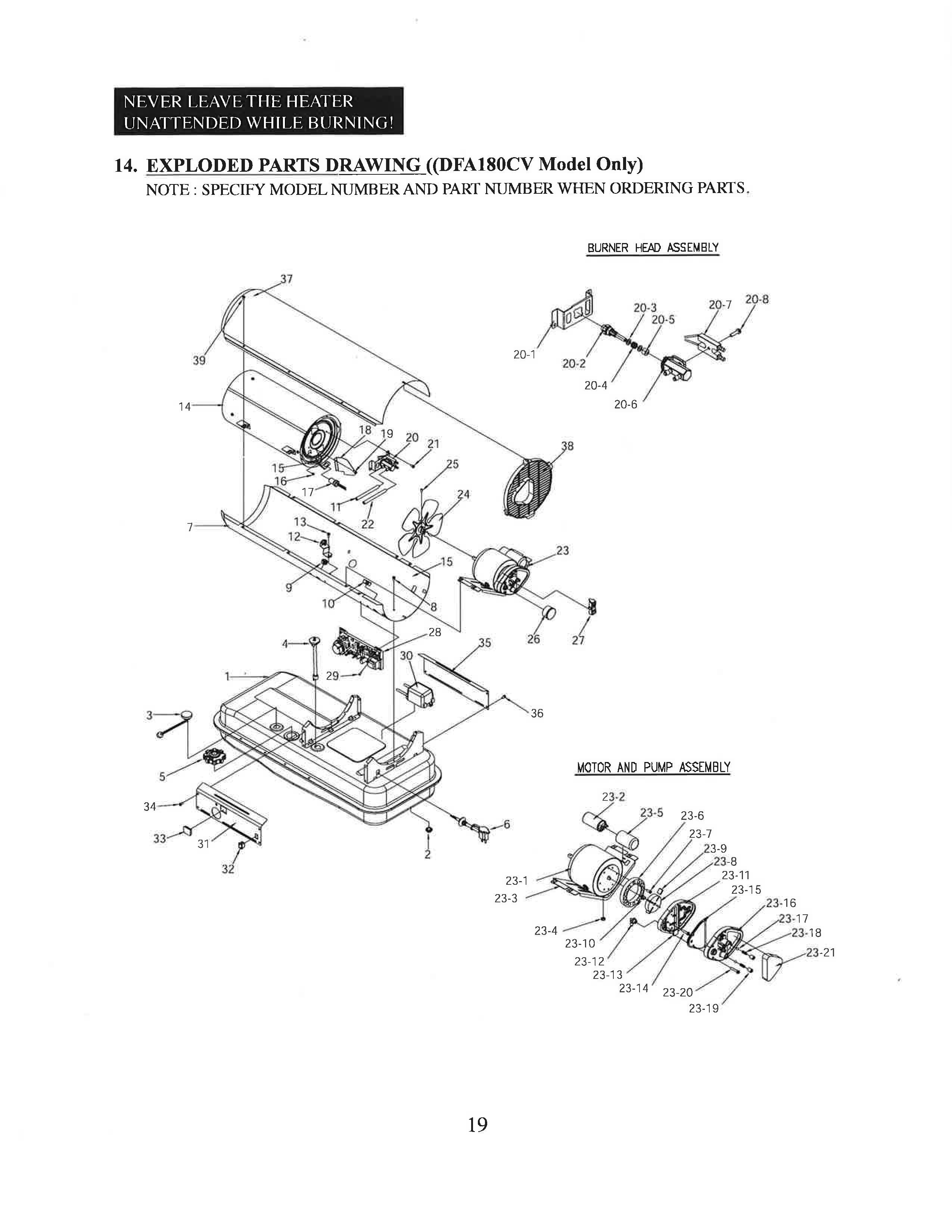 Dura Heat DFA180CV 180,000-140,000 BTU Kero Forced Air