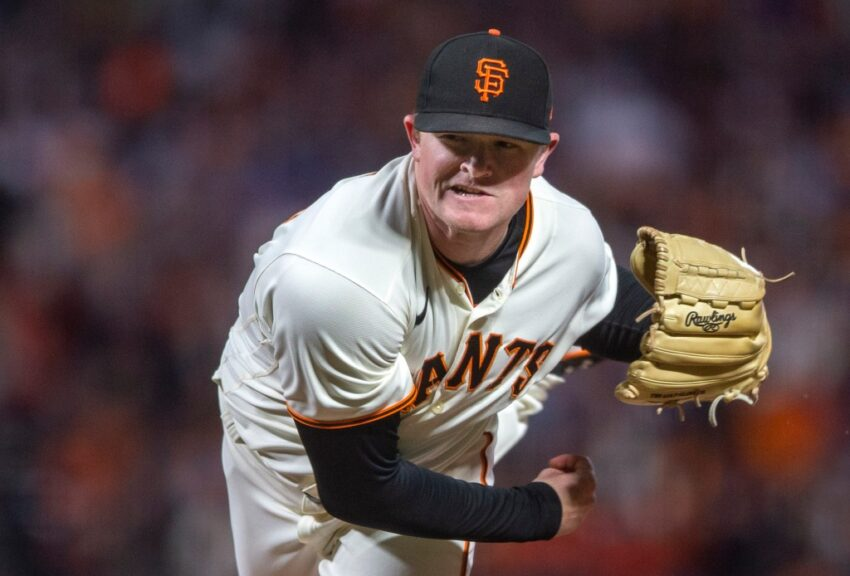 SF Giants starter Logan Webb, driven by Red Bull, goes after the Dodgers in Game 5 of the NLDS