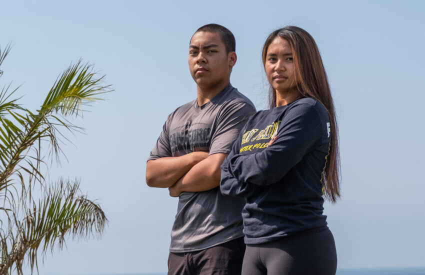 The teenage brother and sister joined the relay team to swim in the San Pedro Channel