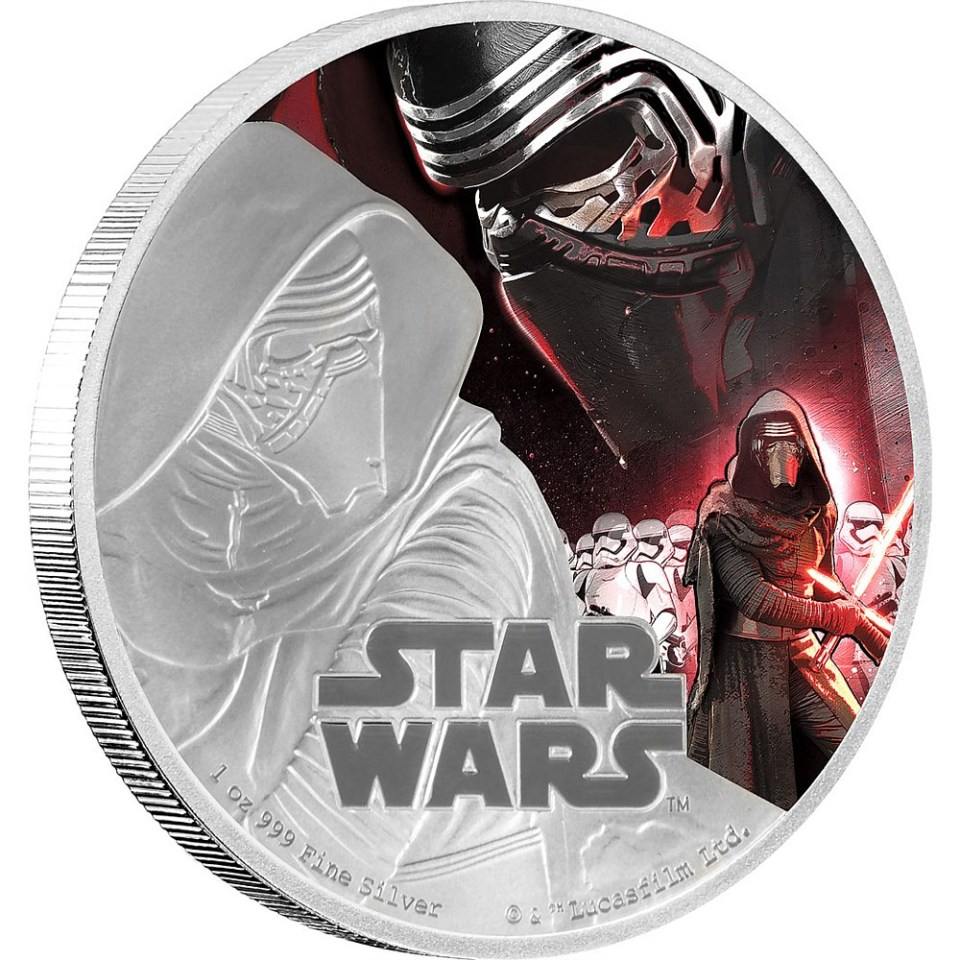 Star Wars: The Force Awakens 2016 Kylo Ren Silver Coin Reverse