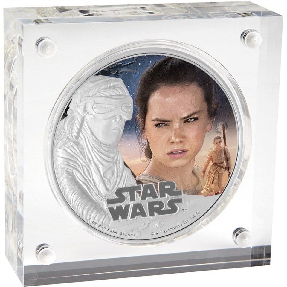 Star Wars: The Force Awakens 2016 Rey Silver Coin In Display Box