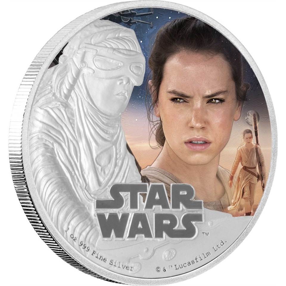Star Wars: The Force Awakens 2016 Rey Silver Coin Reverse
