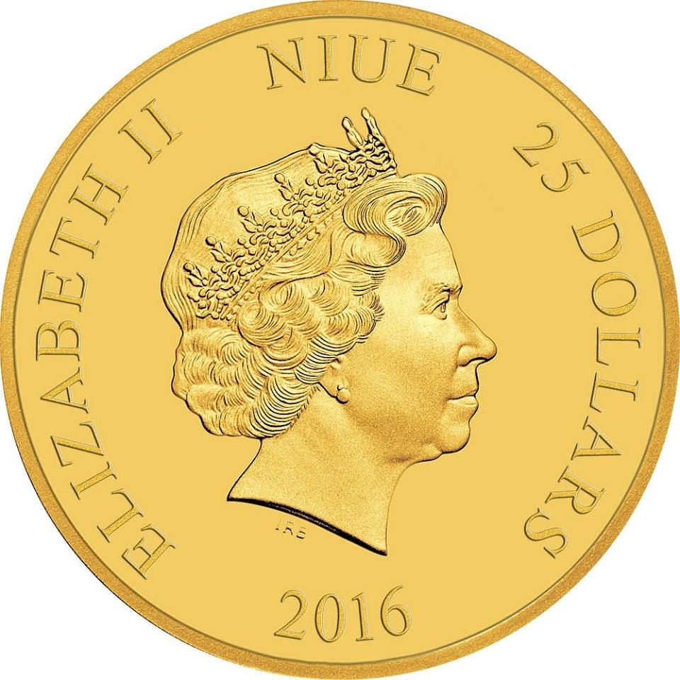 2016 Star Wars $25 1/4oz Gold Coin Obverse