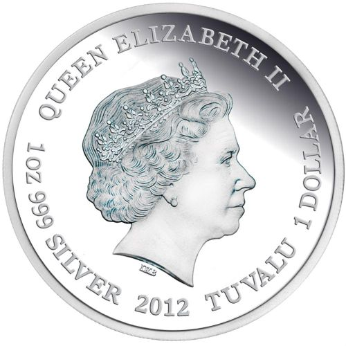 Tuvalu 2012 Silver Tazmanian Wedge-tail Eagle Coin Obverse