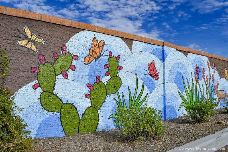 Colorful Public Art Painted Mural at Flatiron Park in Apache Junction, AZ