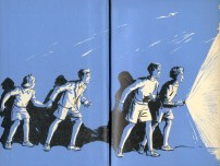 Endpapers of Five Run Away Together, 1944 Hodder & Stoughton 1st Edition, by Eileen Soper. Oh for a torch like that!