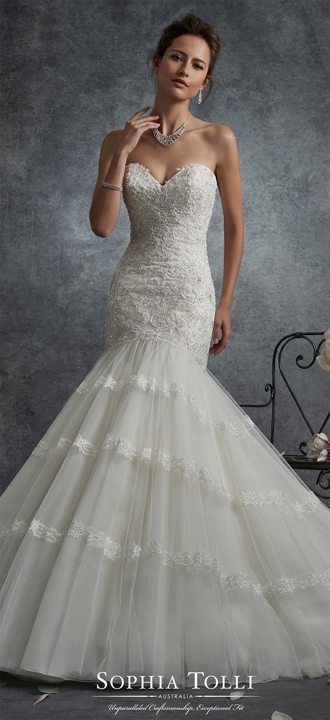 Soft Embellished Fit Lace And Line And Dress Sweetheart Tulle Flare Neckline Wedding