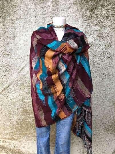 Tibetaanse sjaal, mooie felle kleuren