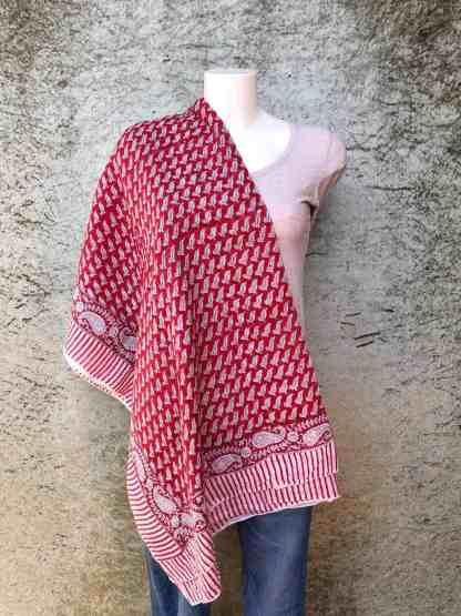 blockprint sjaal, leaves red