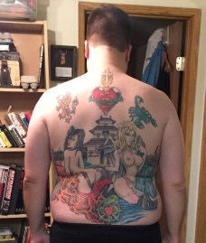 """3/2014 full back piece, lots of different meanings. At 6'4"""" this is a lot of ink."""
