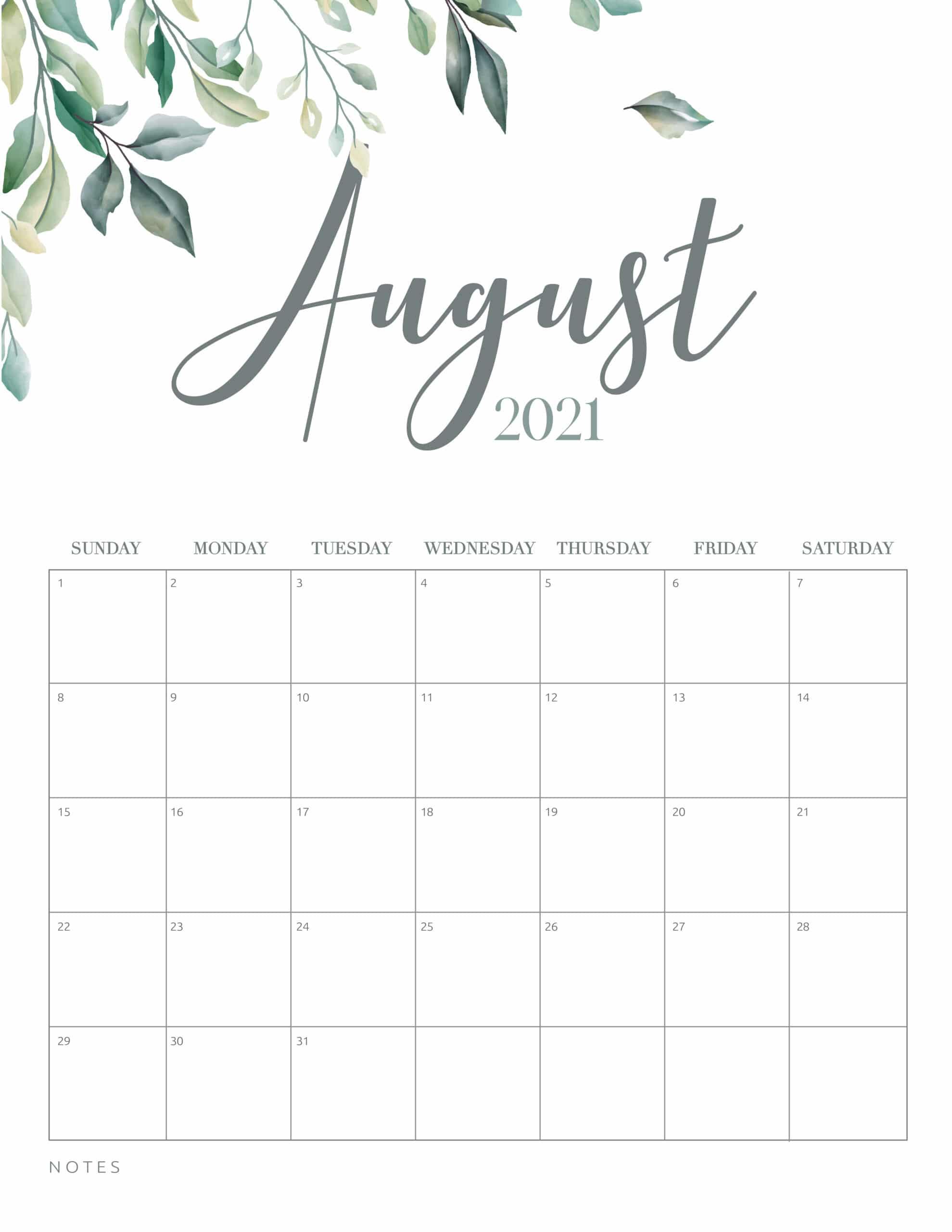 In addition to providing a fresh start, a new calendar can keep you organiz. Free Printable 2021 Calendar Botanical Style - World of ...