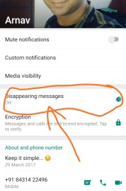 Disappearing messages on WhatsApp