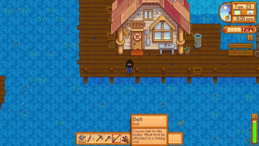 How do I bait or attach my rod on Stardew Valley