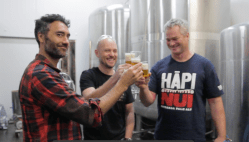 Cheers! Taika, Richard and Carl have an early morning tasting session.
