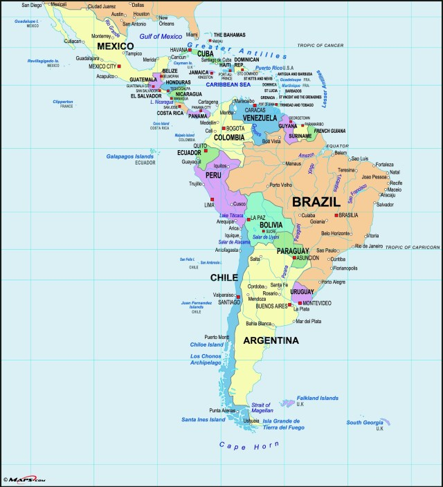 Latin America consists of nineteen sovereign states and several territories and dependencies which cover an area that stretches from the northern border of Mexico to the southern tip of South America, including the Caribbean. It has an area of approximately 19,197,000 km2 (7,412,000 sq mi),[1] almost 13% of the Earth's land surface area. As of 2016, its population was estimated at more than 639 million