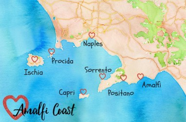 amalfi coast map towns visit naples