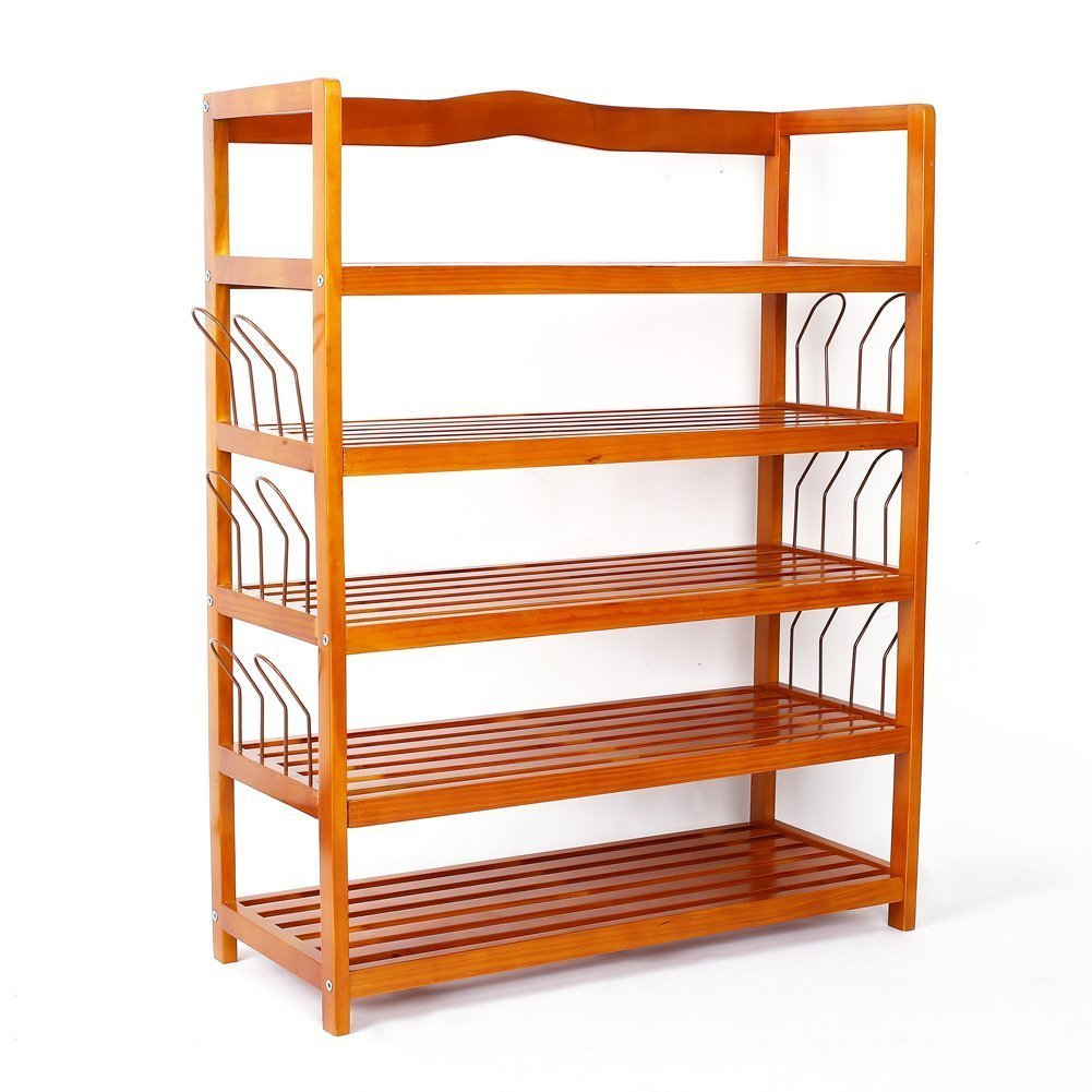 5Tier Wooden Shoe Rack Shelf Storage Organizer Entryway