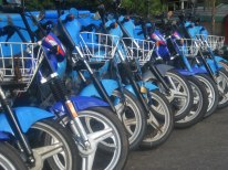 Blue scooters lined up in Buenos Aires, Argentina