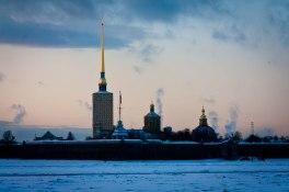 Frozen Neva River in St. Petersburg