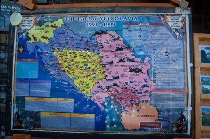 Map illustrating the fall of Yugoslavia