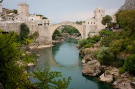 Stari Most and the Nerevtka rover in Mostar, Bosnia
