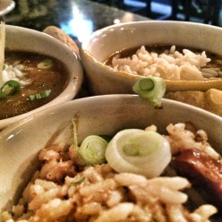 New Orleans triple threat! Gumbo, etouffee, jambalaya