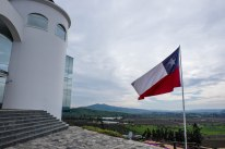 Chilean flag stands tall at Indomita Winery in Casablanca Valley, near Santiago, Chile.