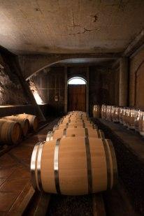 American oak barrels in the basement cellars