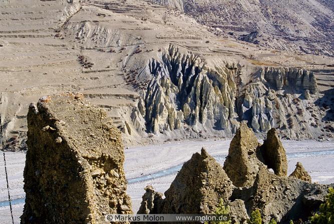 Sandy cliffs along the Marsyandi river