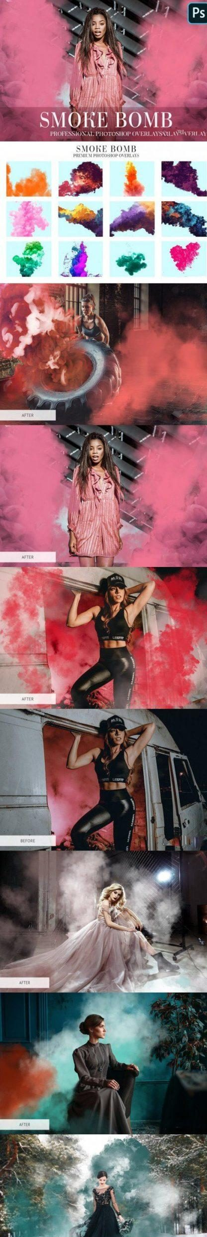 CreativeMarket – Smoke Bomb Overlays Photoshop 4940685 Free Download