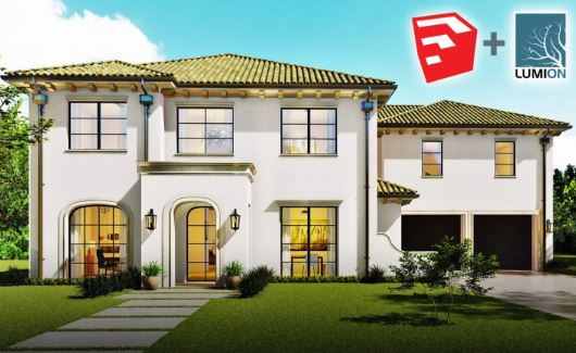 SketchUp 2D to 3D Spanish Modern Home Design Free Download