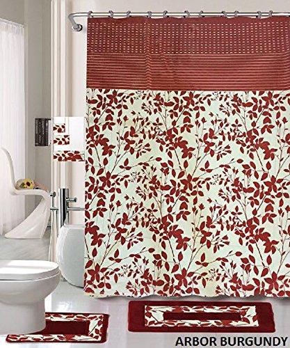 18 piece arbor burgundy bathroom set world products mart