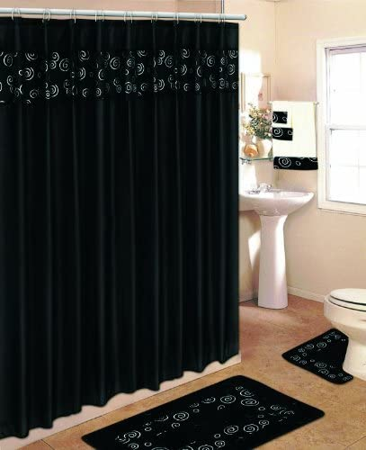 18 piece bathroom set with rugs mats shower curtains rings and towels