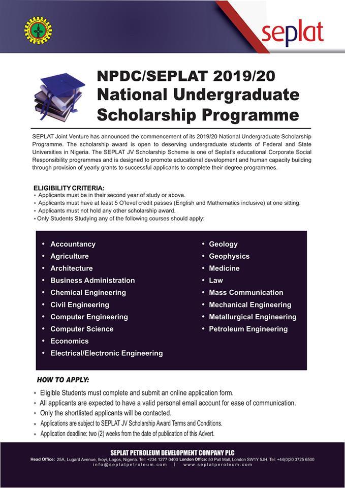 NPDC/SEPLAT Undergraduate Scholarship Application, 2020