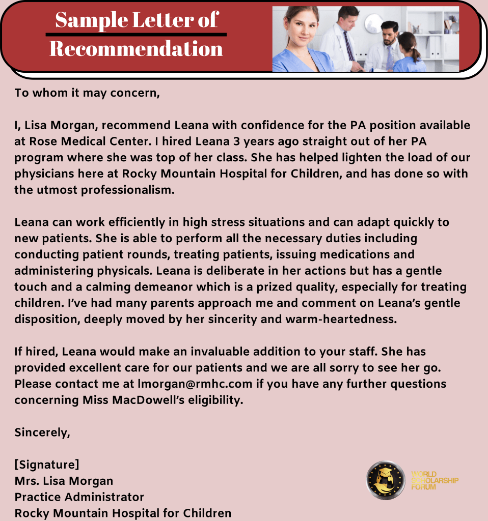 PA School Sample Letter of Recommendation