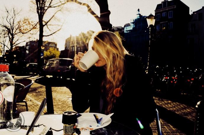 Coffee outside is warmer