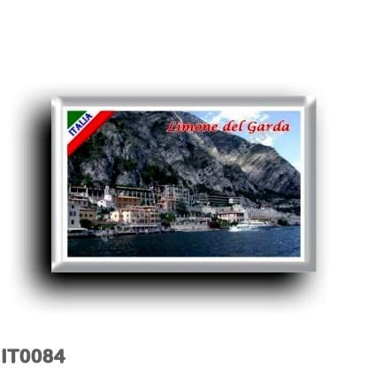 IT0084 Europe - Italy - Lake Garda - Limone del Garda (flag) - Panorama