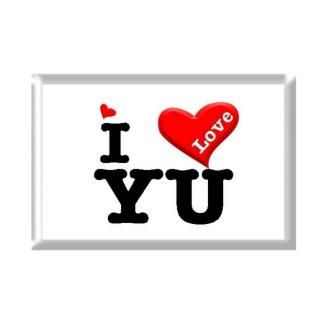 I Love YU rectangular refrigerator magnet