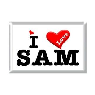 I Love SAM rectangular refrigerator magnet