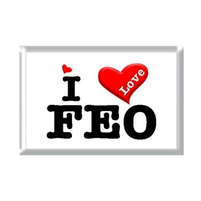 I Love FEO rectangular refrigerator magnet