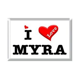 I Love MYRA rectangular refrigerator magnet