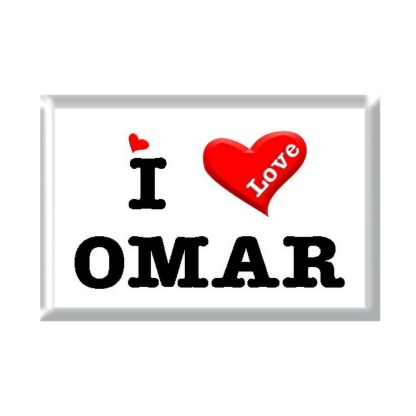 I Love OMAR rectangular refrigerator magnet